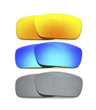 NEW POLARIZED FIRE/BLUE/SILVER CUSTOM LENS FOR OAKLEY FUEL CELL SUNGLASSES